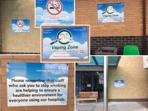 Picture of Hospital showing vaping areas and no smoking signs